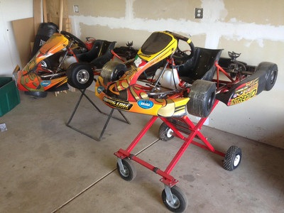 2 intrepid go karts and gear
